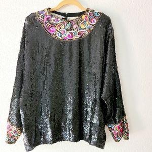 Donnatella Saks Fifth Avenue Sequin Black Blouse